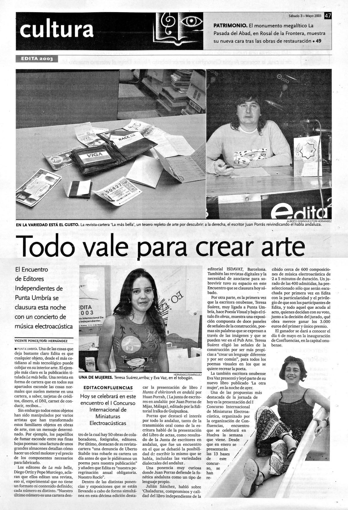 ReseñasPrensa-Huelva Información_3 Mayo 2003